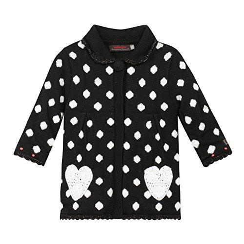 Catimini Layette Fille Spirit City Maedchen kuscheliger Mantel, schwarz mit aufgesetzten Taschen in Herzform 104