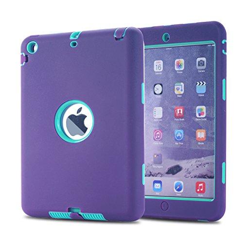 MAKEIT CASE iPad Mini Case iPad Mini 2 Case 3in1 Hybrid Shockproof Case for iPad Mini 1 2 3 Generation (Purple/Light Green)