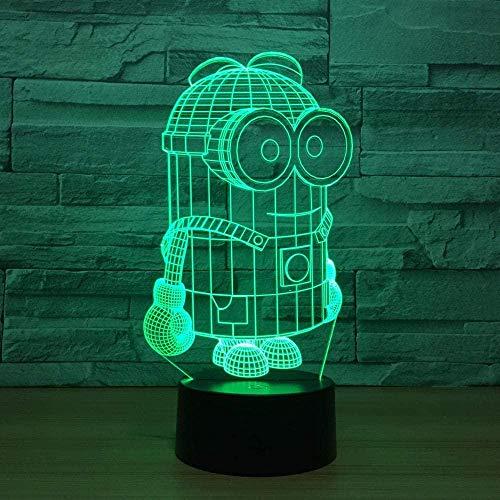 3D-Illusionslampe LED-Nachtlicht Nette Cartoon Minions Schreibtischlampe Tischlampe 7 Farben Bunter Berührungsschalter für Kind Baby Born Weihnachtsgeschenk