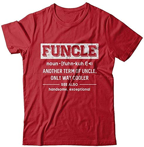 Men's Funcle Definition Funny Uncle Gift Shirt Short Sleeve Tee rojo 4XL