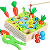 Wooden Toy for Toddlers 1-3,Montessori Toys for 1 Year Old Boys Girls 3in1 Preschool Kids Carrots...
