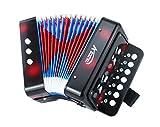 Instrumentos de Teclado de Juguete de acordeón con Botones para niños con 7 Teclas de Agudos, 3 válvulas de Aire, Correa de Mano, Juguete Musical (Negro)