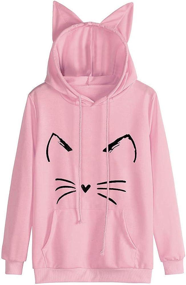 Ranking TOP20 Fowoukior Cat Ear Hooded Sweater Girl Casual Seattle Mall Fashion Women Teen