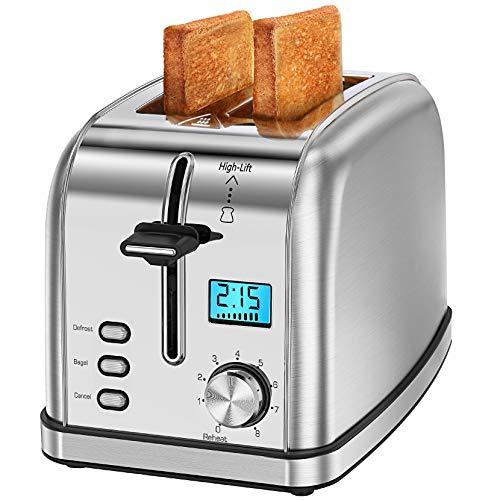 Homasy Toaster 2 Slices 8 Toast Settings