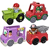 Little People Fisher Price Vehicles Set with Figures for Toddlers Includes Farm Harvester Tractor, Ice Cream Truck, Fire Truck Toy and Pizza Delivery Car