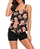 Corfrute Womens Floral Bathing Suits 2 Piece Swimsuits Layered Ruffle Tops with Boyshorts Bottoms Swimwear Tankini Set,Maple Leaf,XL