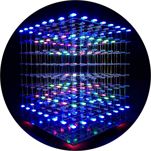 iCubeSmart 3D Led Cube Kit Diy Soldering Project 8x8x8 Led Light Cube Diy Kits electrónicos Kit de aprendizaje de soldadura programable (3D8S-MULTI)