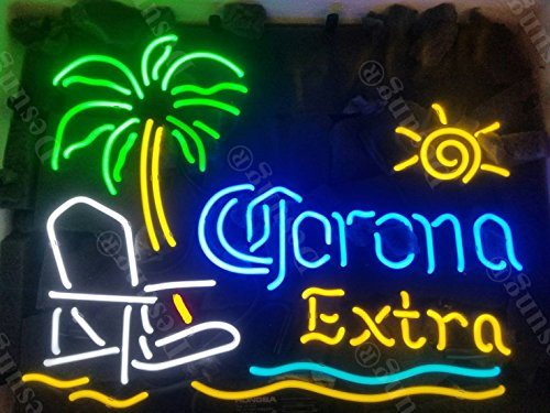 Desung New 20x16 Corona Extra Palm Tree Beach Chair Sun Neon Sign (Multiple Sizes Available) Man Cave Sports Bar Pub Beer Glass Neon Light Lamp CX154