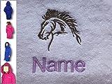 EFY - Peignoir de bain à capuche enfant avec motif tête de cheval et nom - Rose -...