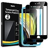 [改進版]ESR iPhone SE ガラスフィルム 第2世代 (2枚入り) iPhone SE/8/7 フィルム 2020 新型 [気泡なし] [3D曲線エッジ] [最大限保護] [全面カバー] [精確な加工] iPhone SE/8/7 用高品質強化ガラスフィルム – ブラック