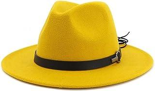 Fashion Hats, Caps,Elegant Hats, Natural Caps Men Women Fedora Hat with Leather Belt Pop Jazz Hat Wide Brim Hat Casual Hat Sun Hat (Color : Yellow, Size : 56-58)