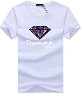 HHC.G Men's T-shirt Diamond pattern Fashion cotton round neck casual top couple top