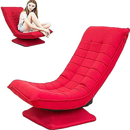 Bodenstuhl mit 360° Drehbarem Sockel Bodensessel mit 3 Winkelverstellbarer Rückenlehne 0°-125° Klappbarer Relaxsessel Lazy Sofa für Wohnzimmer und Büro