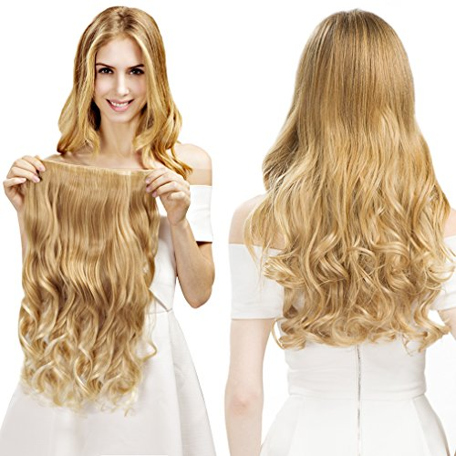 """REECHO 20"""" 1-Pack 3/4 Full Head Curly Wave Blonde Mixed Hair Color Clips in on Synthetic Hair Extensions Hairpieces for Women 5 Clips 4.6 Oz per Piece - 25T613"""