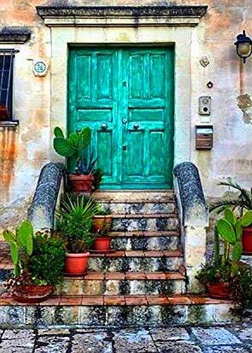 DIY olieverfschilderij groene deur trappen verf op nummer kit kleurrijke canvas met borstels Decor Decoraties Kerstcadeaus 16 * 20 Inch.40 * 50Cm