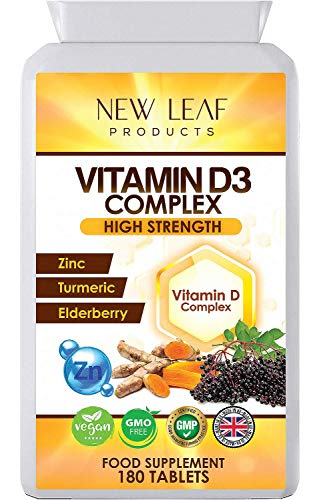 Vitamin D Tablets High Strength and Absorbency - Enriched with Zinc 25mg Elderberry & Turmeric -One A Day VIT D3 2000iu Per Tablets - Vegan GMO-Free, Gluten-Free, GMP - UK Made 180