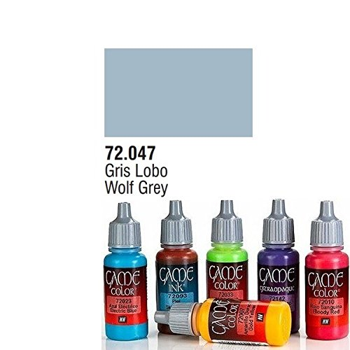 PINTURA ACRILICA DE COLOR GRIS LOBO EN BOTE DE 17 ML MODELO GAME COLOR DE VALLEJO