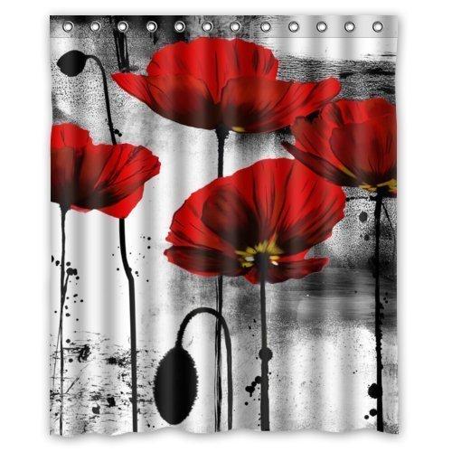 PETGOOD Duschvorhang Schöne Weinlese-rote Mohnblumen-Blumen-Tinten-Malerei-Kunst-Entwurf viele schöne Duschvorhänge zur Auswahl, hochwertige Qualität, Wasserdicht, Anti-Schimmel-Effekt 180 x 200 cm