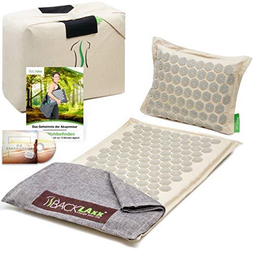 BACKLAxx ® Akupressurmatte Set - Entspannung für Rücken, Nacken, Schulter und...