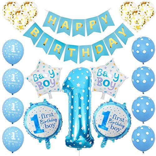 Globos Cumpleaños Niño, 1er Cumpleaños Bebe Azul Globos Numeros 1 Decoracion, Globos...