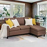 JY QAQA Sectional Sofa Couch Convertible Chaise Lounge, Modern Sofa Set for Living Room, L-Shaped Couch with Linen Fabric for Small Space, Brown…