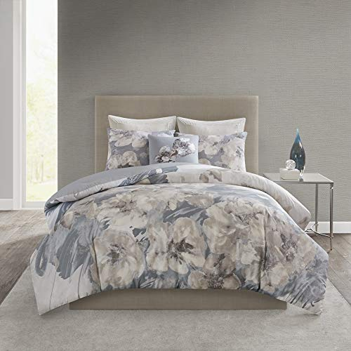 7pc California King Anett Chenille Jacquard Comforter Set Taupe