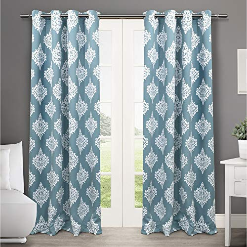 Exclusive Home Curtains Medallion Blackout Grommet Top Curtain Panel Pair, 52x96, Teal, 2 Count