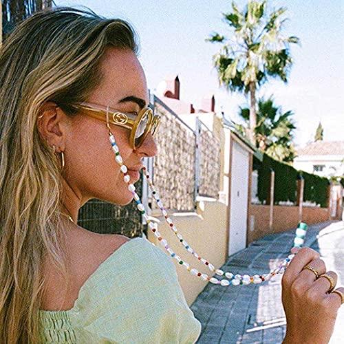 Bohend Cadena para gafas de sol, 2 unidades, con perlas, para mujer, accesorio para gafas de sol y máscaras faciales