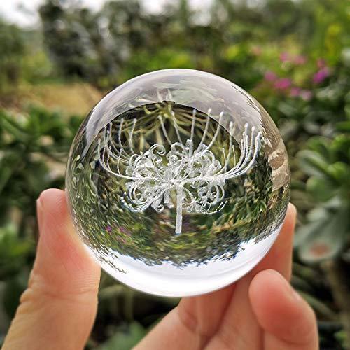 NYKK Bola Cristal 3D Bola Equinox Flor Figurine Vidrio Láser Grabado Esfera Papel Papel Papel Desenombros Decoración Ornamentos Artesanía Regalos Creativa (Color : Only Ball, Size : 60mm)