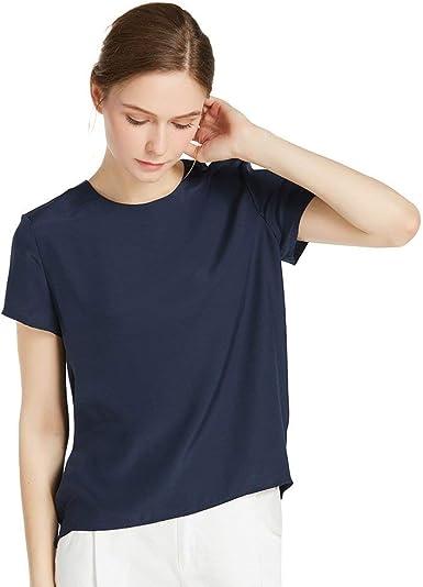 LilySilk Blusa de Mujer con Cierre En Espalda de Botones 100% Seda Natural de 22 Momme