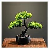 ffshop bonsái Artificial Simulación de árbol Artificial Bienvenido Pine Bonsai, 8 Pulgadas Fake Green Plant Bonsai para la Sala de Estar Entrada del Hotel Decoración del hogar para decoración