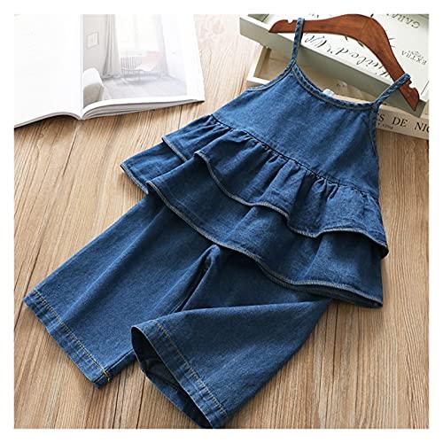 Youpin Conjuntos de ropa de verano para niñas princesa con manga volador+falda de malla de gasa con lazo grande, 2 piezas para bebés y niños (color: MX163 azul, talla para niños: 3T)