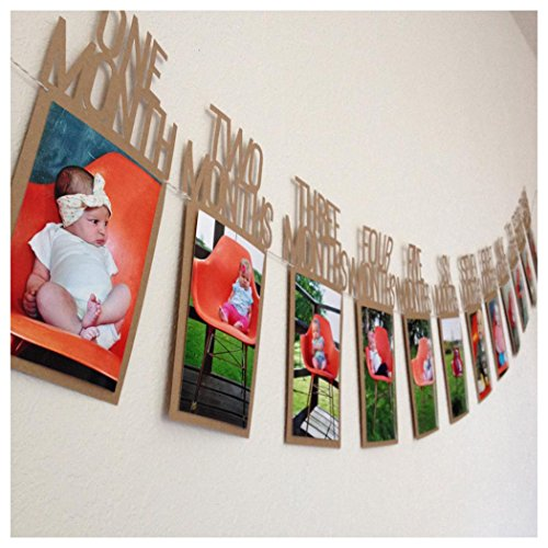 InKach Photo Hanging Picture Frames 1-12 Month Monthly Wall Decor Kids Birthday Gift (Brown)