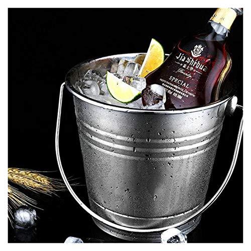 Cubo de hielo 1pc 3.0l Cubo de hielo de acero inoxidable Refriador de hielo portátil del enfriador de hielo con mango Contenedor de cubo de hielo para vino Cerveza de champán Para fiestas familiares
