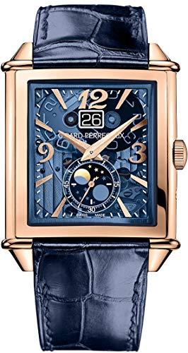Girard Perregaux Vintage 1945 XXL Blue Tinted Rose Gold Moonphase Mens Watch