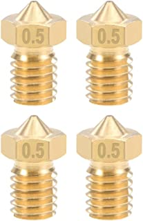 Brass 4pcs uxcell 0.5mm 3D Printer Nozzle Head M6 Thread Replacement for V5 V6 3mm Extruder Print