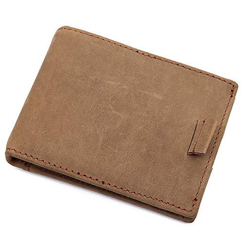 Monedero Billetera para Hombre, RFID minimalista delgado del clip del dinero carpeta de los hombres de cuero de la vendimia bloqueo clásico plegable corto Monedero 4 sostenedor de las tarjetas moneder