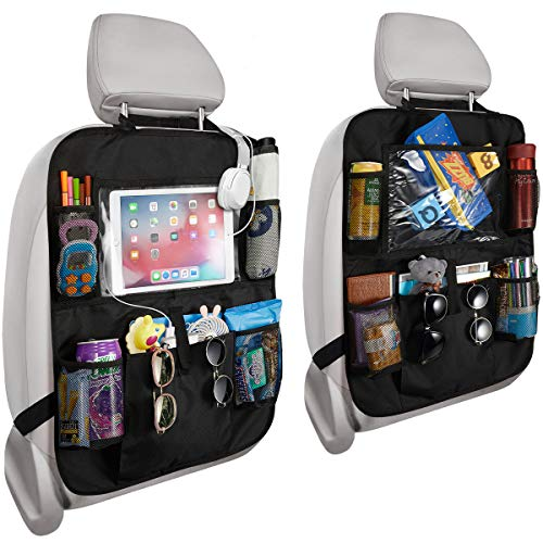 Reserwa Car Backseat Organizer 2 Pack Waterproof and Durable Car Seat Organizer Kick Mats Muti-Pocket Back Seat Storage Bag with Touch Screen Tablet Holder to Organize Toy iPad Bottle Snacks Books