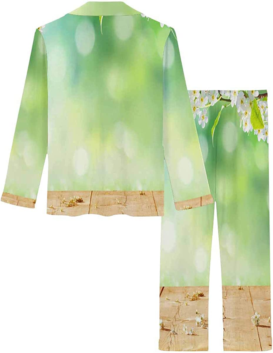 InterestPrint Notch Collar Loungewear Sleepwear Soft Nightwear for Women Spring Background with Wooden Planks