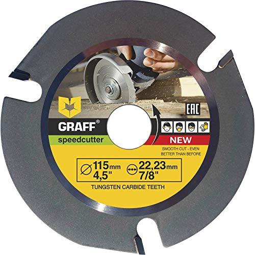 Widia Disco Smerigliatrice Legno GRAFF® Speedcutter 115mm, Lama in Carburo di Tungsteno, Disco per Legno 3 denti TCT per Smerigliatrice Angolare (115 mm)