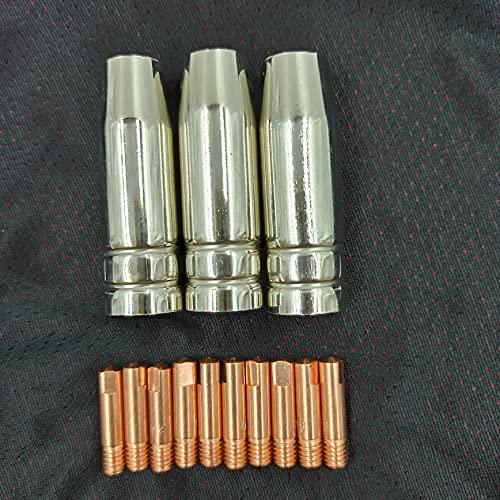 zxxin-Boquillas de soldadura, 13 unids MIG Soldando antorcha AirCooled, Kit de punta de la boquilla del escudo de la cubierta del escudo de la soldadora de 0.8mm, la boquilla de gas de la punta de con