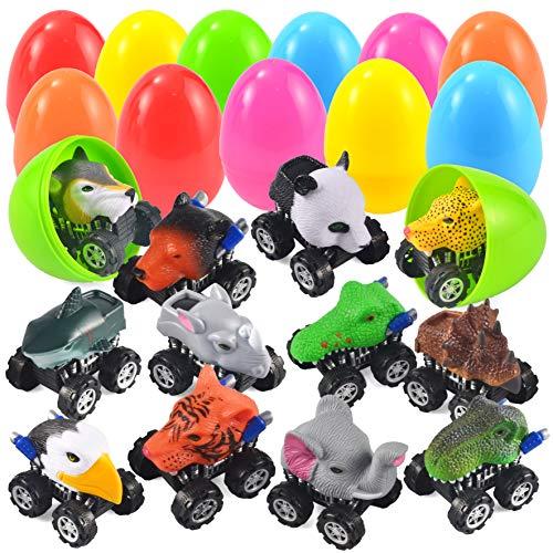 JOYIN 12 Confezione Jumbo Uova di Pasqua con preriempita Animale Tirare Indietro Auto Easter Basket Stuffers Easter Party Favors for Kids