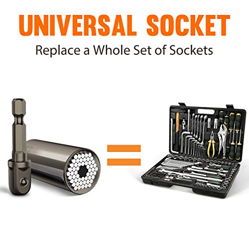 Universal Socket Tool Gift for Men, Grip Socket Set Fits Standard 1/4'' - 3/4'' with Multi-Function Power Drill Adapter, Fathers Day Gifts for Him, DIY, Dad, Husband, Boyfriend, Him (Black) (1)