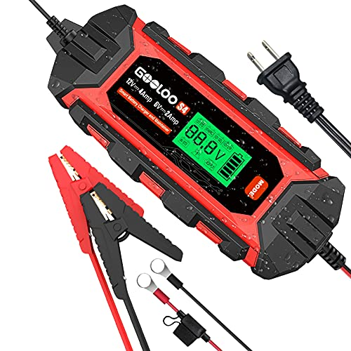GOOLOO S4 4 Amp Smart Car Battery Trickle Charger Maintainer Automotive, 6V 12V Automatic Intelligent Water-Resistant Motorcycle Battery Charger for Truck Lawn Mower Boat RV SUV ATV Lead-Acid Battery