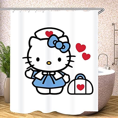 Fgolphd Cartoons Hello Kitty Duschvorhang Textil 120x200 180x200180x180 200x240 Anime Bunt Pink Blau,3D-Druck 100% Polyester,Shower CurtainsWasserdicht (1,120 x 200 cm)