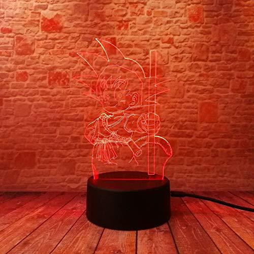 Aap Illusie-nachtlampje, 3D LED-tafellamp, bureaulamp, 7 kleuren, USB opladen, bedlampje, slaapkamer-decoratie voor kinderen, Kerstmis, verjaardagscadeau