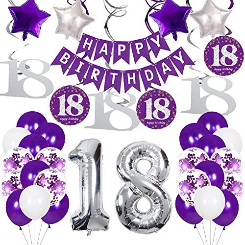 Decoración para cumpleaños de 18 años, color lila y plateado