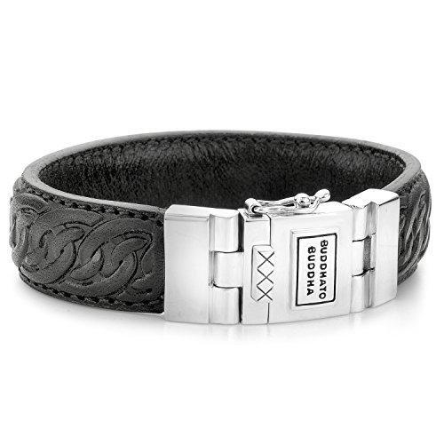 Buddha to Boeddha unisex armband 925 zilver 19 zwart 32000283