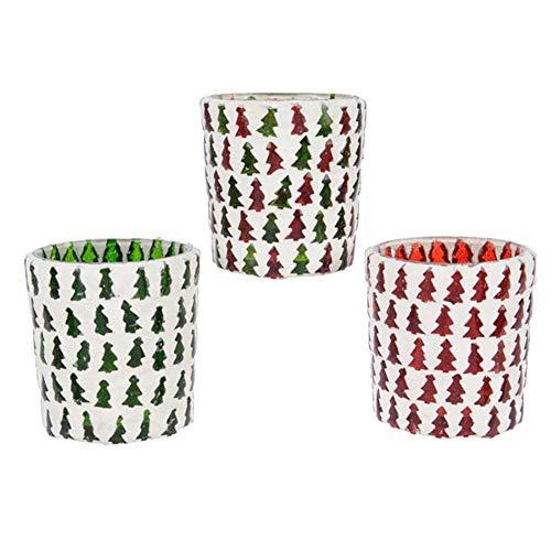Kaemingk Porte Chauffe-Plat avec mosaïque de sapins Verts et Rouges 7 x 7 cm 1 pièce