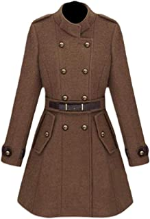 Women's Mid Long Stand Up Collar Double-Breasted Fit Long Trench Coat